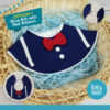 Navy Blue with Red Ribbon